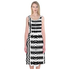 Black And White Abstract Stripped Geometric Background Midi Sleeveless Dress