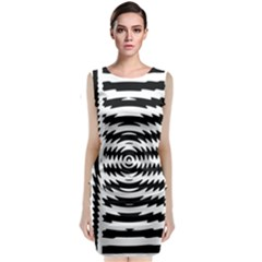 Black And White Abstract Stripped Geometric Background Classic Sleeveless Midi Dress
