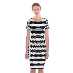 Black And White Abstract Stripped Geometric Background Classic Short Sleeve Midi Dress