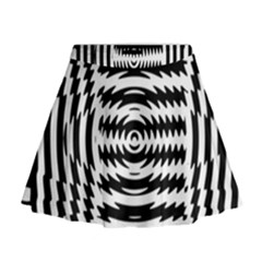 Black And White Abstract Stripped Geometric Background Mini Flare Skirt