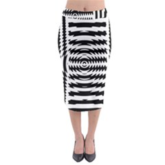 Black And White Abstract Stripped Geometric Background Midi Pencil Skirt