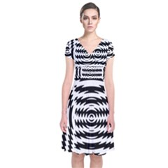 Black And White Abstract Stripped Geometric Background Short Sleeve Front Wrap Dress