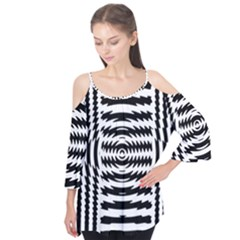 Black And White Abstract Stripped Geometric Background Flutter Tees