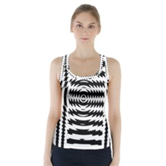 Black And White Abstract Stripped Geometric Background Racer Back Sports Top