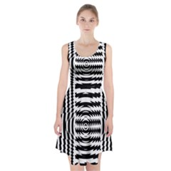Black And White Abstract Stripped Geometric Background Racerback Midi Dress