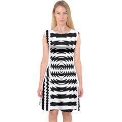 Black And White Abstract Stripped Geometric Background Capsleeve Midi Dress