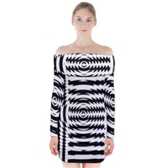 Black And White Abstract Stripped Geometric Background Long Sleeve Off Shoulder Dress