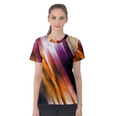 Colourful Grunge Stripe Background Women s Cotton Tee