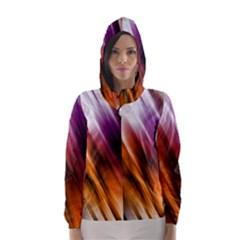 Colourful Grunge Stripe Background Hooded Wind Breaker (women)