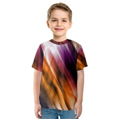 Colourful Grunge Stripe Background Kids  Sport Mesh Tee