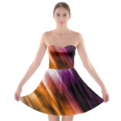 Colourful Grunge Stripe Background Strapless Bra Top Dress