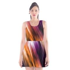 Colourful Grunge Stripe Background Scoop Neck Skater Dress
