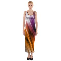 Colourful Grunge Stripe Background Fitted Maxi Dress