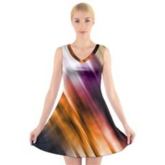 Colourful Grunge Stripe Background V Neck Sleeveless Skater Dress