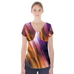 Colourful Grunge Stripe Background Short Sleeve Front Detail Top