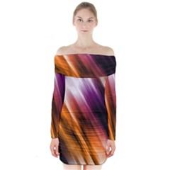 Colourful Grunge Stripe Background Long Sleeve Off Shoulder Dress