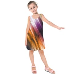 Colourful Grunge Stripe Background Kids  Sleeveless Dress