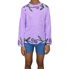 Hand Drawn Doodle Flower Border Kids  Long Sleeve Swimwear