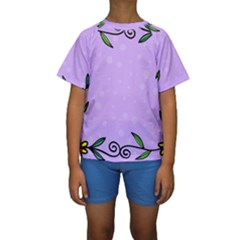 Hand Drawn Doodle Flower Border Kids  Short Sleeve Swimwear