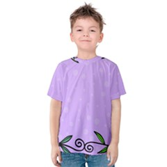 Hand Drawn Doodle Flower Border Kids  Cotton Tee