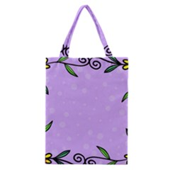 Hand Drawn Doodle Flower Border Classic Tote Bag