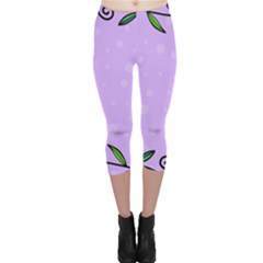 Hand Drawn Doodle Flower Border Capri Leggings