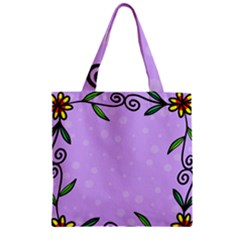 Hand Drawn Doodle Flower Border Zipper Grocery Tote Bag