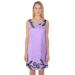 Hand Drawn Doodle Flower Border Sleeveless Satin Nightdress