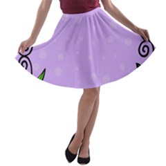 Hand Drawn Doodle Flower Border A-line Skater Skirt