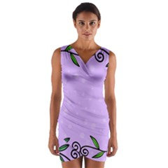 Hand Drawn Doodle Flower Border Wrap Front Bodycon Dress