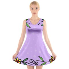 Hand Drawn Doodle Flower Border V Neck Sleeveless Skater Dress