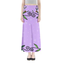 Hand Drawn Doodle Flower Border Maxi Skirts