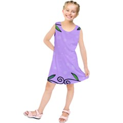 Hand Drawn Doodle Flower Border Kids  Tunic Dress