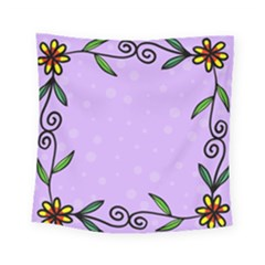 Hand Drawn Doodle Flower Border Square Tapestry (small)