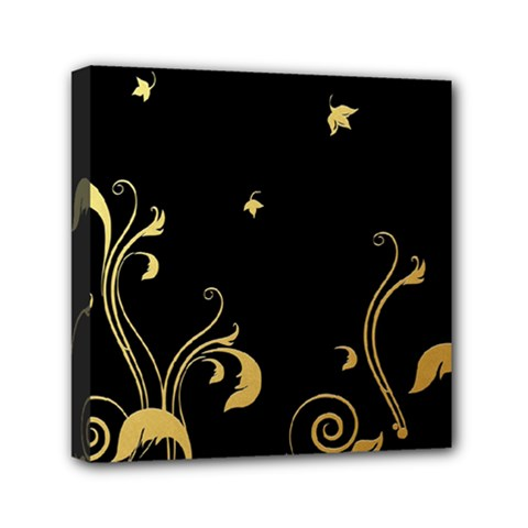 Golden Flowers And Leaves On A Black Background Mini Canvas 6  X 6