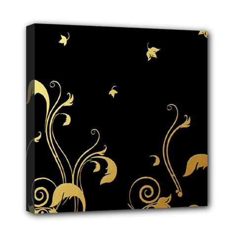 Golden Flowers And Leaves On A Black Background Mini Canvas 8  x 8