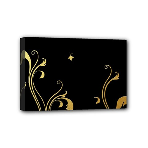 Golden Flowers And Leaves On A Black Background Mini Canvas 6  x 4