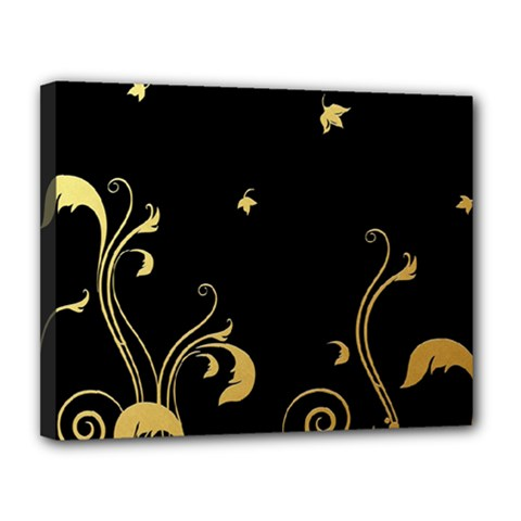 Golden Flowers And Leaves On A Black Background Canvas 14  x 11