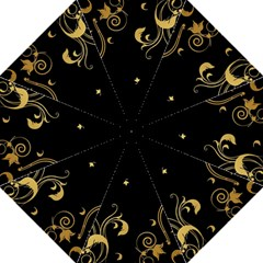 Golden Flowers And Leaves On A Black Background Folding Umbrellas