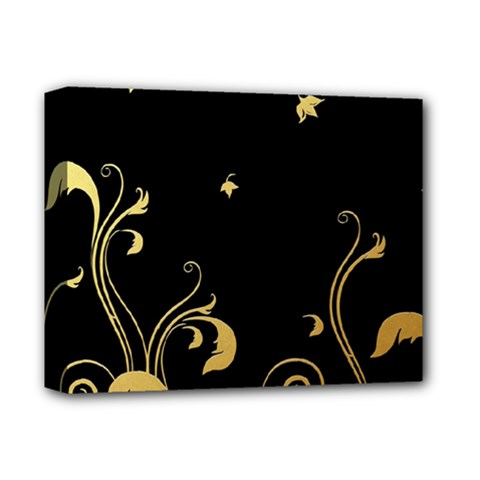Golden Flowers And Leaves On A Black Background Deluxe Canvas 14  X 11