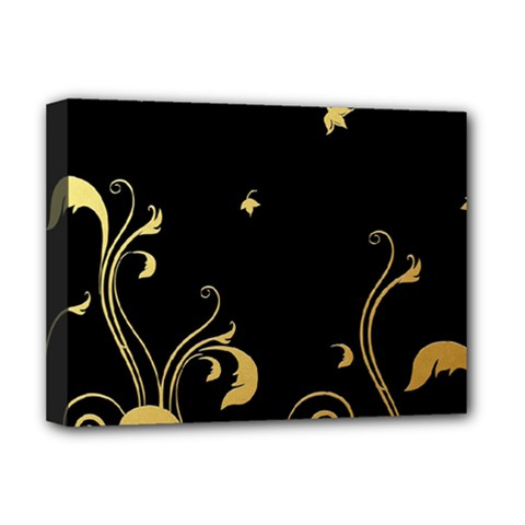 Golden Flowers And Leaves On A Black Background Deluxe Canvas 16  X 12