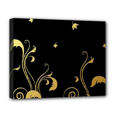 Golden Flowers And Leaves On A Black Background Deluxe Canvas 20  x 16