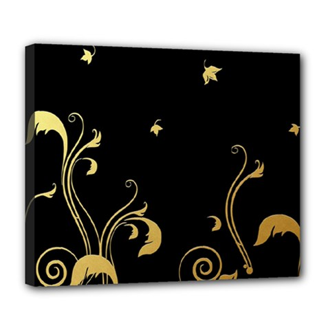 Golden Flowers And Leaves On A Black Background Deluxe Canvas 24  x 20