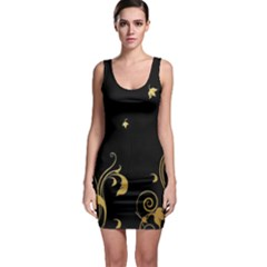 Golden Flowers And Leaves On A Black Background Sleeveless Bodycon Dress