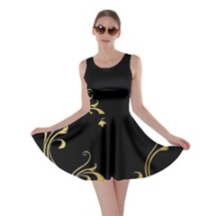 Golden Flowers And Leaves On A Black Background Skater Dress