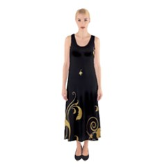 Golden Flowers And Leaves On A Black Background Sleeveless Maxi Dress