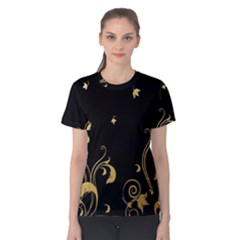 Golden Flowers And Leaves On A Black Background Women s Cotton Tee