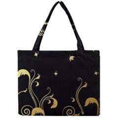 Golden Flowers And Leaves On A Black Background Mini Tote Bag