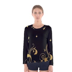Golden Flowers And Leaves On A Black Background Women s Long Sleeve Tee