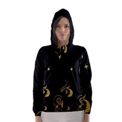 Golden Flowers And Leaves On A Black Background Hooded Wind Breaker (women)
